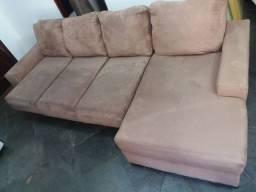 Sofá retrátil 4 lugares com chaise