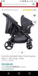 Carrinho e bebê conforto Cosco, em perfeito estado, suporta até 15kg