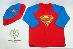 Roupa de banho infantil, camiseta + boné Super Homem - Riachuelo