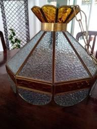 Lustre pendente antigo vitral