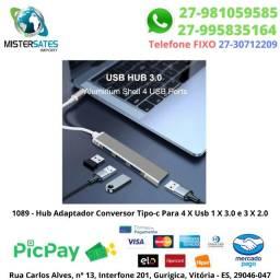 1089 - Promoção - Hub Adaptador Conversor Tipo-c Para 4 X Usb 1 X 3.0 e 3 X 2.0<br><br>