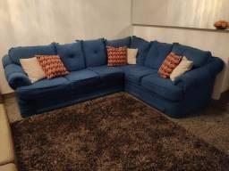 Sofá de Canto Azul- Grande e Super Confortável