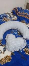 Lote de lençol para berço e almofada de amamentação