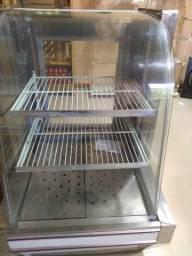 Balcão seco para armazenar doces e salgados (usado, não é estufa) Cor branca com vidro
