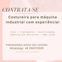 Contrata-se Costureira para Máquina Industrial