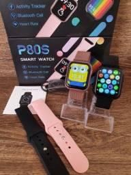 Smartwatch P80S com 02 Pulseiras, Foto na Tela, Faz e recebe ligações