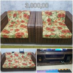 Jogo de sofá com estante