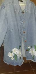 Jaqueta Jeans c/bordado na lateral