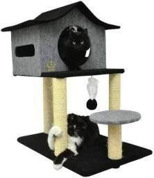 Arranhador para gato tipo casa com rede - Cores - Até 6X S/ Juros ou 10% desc. a vista