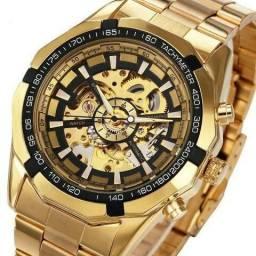 Relógio automático modelo europeu banhado Wforsing ouro