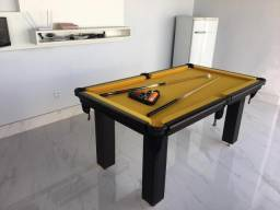 Mesa de Bilhar Cor Preta Tecido Amarelo Mod. SLSU3470