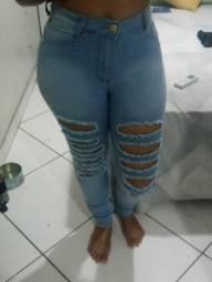Calça Jeans Feminina Destroyed Skynne