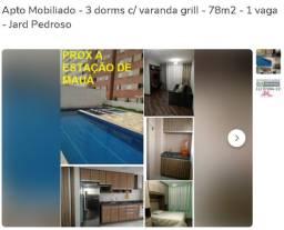 Apto Mobiliado - 3 dorms c/ varanda grill - 78m2 - 1 vaga - Jard Pedroso