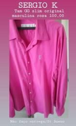 1 Camisa rosa SERGIO K tam G slim ORIGINAL masculina nova