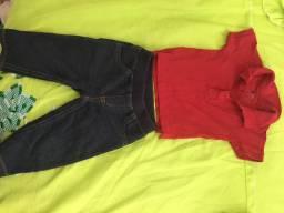 Camisa polo +calça jeans