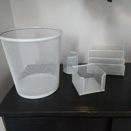 Kit conjunto organizador para escritório branco mesh 4 peças novo