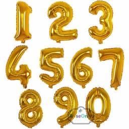 Balão Metalizado Coração Estrela Letra Número Dourado Prata Colorido Safari