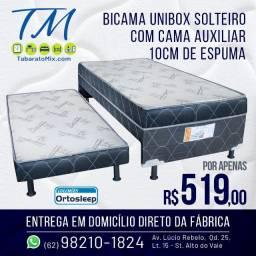 Promoção! Unibox Solteiro com Auxiliar 10CM Espuma Selada, até 6x sem juros!