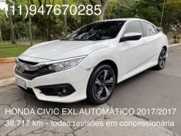 Honda Civic EXL Automático 2017/2017 branco baixa km impecável