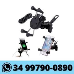 Suporte de Celular p/ Moto c/ USB