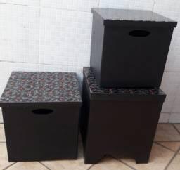 Caixas organizadoras de madeira pretas