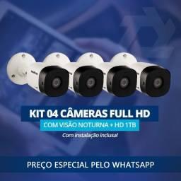 Kit CFTV 4 Cameras Full HD com Instalação inclusa.