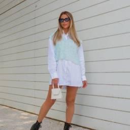 Colete em Tricot Fashion Cores roxo e azul