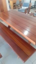 Título do anúncio: Conjunto mesa c/2 bancos de madeira