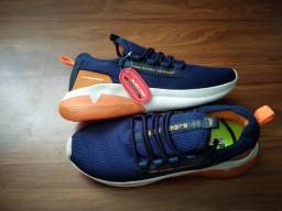 Título do anúncio: tênis esportivo Azul/Laranja - entrego