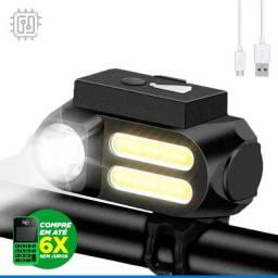 Título do anúncio: Lanterna Farol para Bicicleta Dianteira Led Bike Lamp Recarregável por USB - 4 Modos