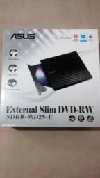Gravador slim  de DVD Asus externo conexão USB