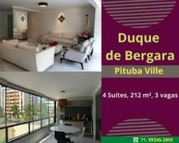 Oportunidade: Pituba Ville, 4 suítes, 212 m²,nascente,  6 sanitários, 3 vagas, armários