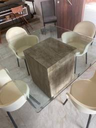 Conjunto de Mesa 4 Cadeiras  Tampo de Vidro  Slim