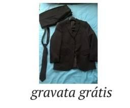 Terno Masculino preto completo+ gravata grátis