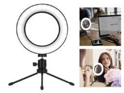 Ring Light com de mesa com tripé - Anel de Luz para Fotos e Vídeos