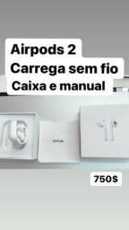 AirPods 2 fone original case sem fio Wifi