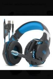 Fone de ouvido/headset Novo gamer Knup KP-451 black e blue 7.1 surround