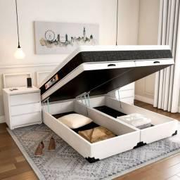 Cama baú king size completa com colchão molas ensacada individual / Parcelas de: