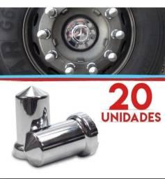 20 Capas Cromada Parafuso Roda Mexicana Caminhão 32mm