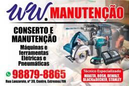 Técnico em ferramentas elétricas e compressor.