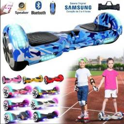 Skate Elétrico Hoverboard Camuflado Azul 6, 5 Polegadas Bluetooth com Led