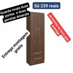 Guarda roupa solteiro duas portas e duas gavetas