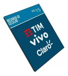 ?Recarga Celular Crédito Online Tim Claro Vivo Oi R$ 15,00?