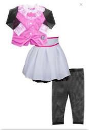 Fantasia Draculaura Monster High Infantil Luxo 5 peças tamanho M 3 a 5 anos