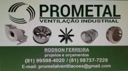 Ventilação industrial, exaustores e ventiladores