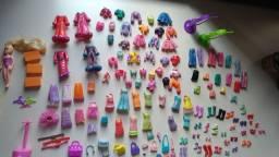 7 bonecas polly pocket com mais de 70 acessórios e bolsa