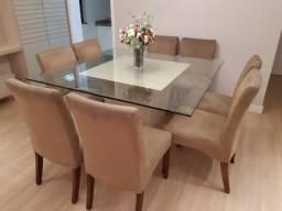 Conjunto Mesa Cadeira Sala de Jantar 140 x 140 cm, espessura 15mm, com bisote - 8 lugares