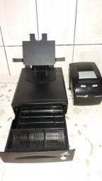 Gaveta de dinheiro Bematech + Impressora Bematech + Suporte de tablet