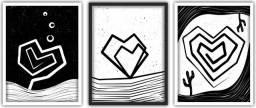 Trio de quadros decorativos corações lineares por Lu.Z 45x60cm cada