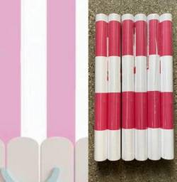 Título do anúncio: Rosa e branco listrado papel parede novo modelo